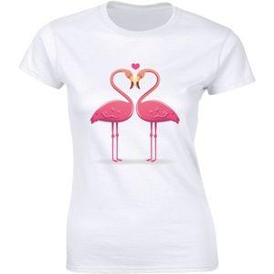 Pink Flamingo Bird Couple Shape Heart Tee T-shirt